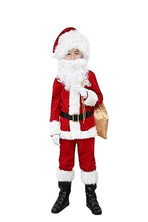 91cdcc430e48 ELFJOY Children's Santa Suit Kids Christmas Halloween Costume Cosplay Set  of 10 Pieces (Large)