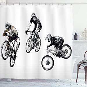 Ambesonne Sketchy Shower Curtain, Hand Drawn Image of Cyclists Bicycle Bikes with Tour De France Theme Outdoors, Cloth Fabric Bathroom Decor Set with Hooks, 70