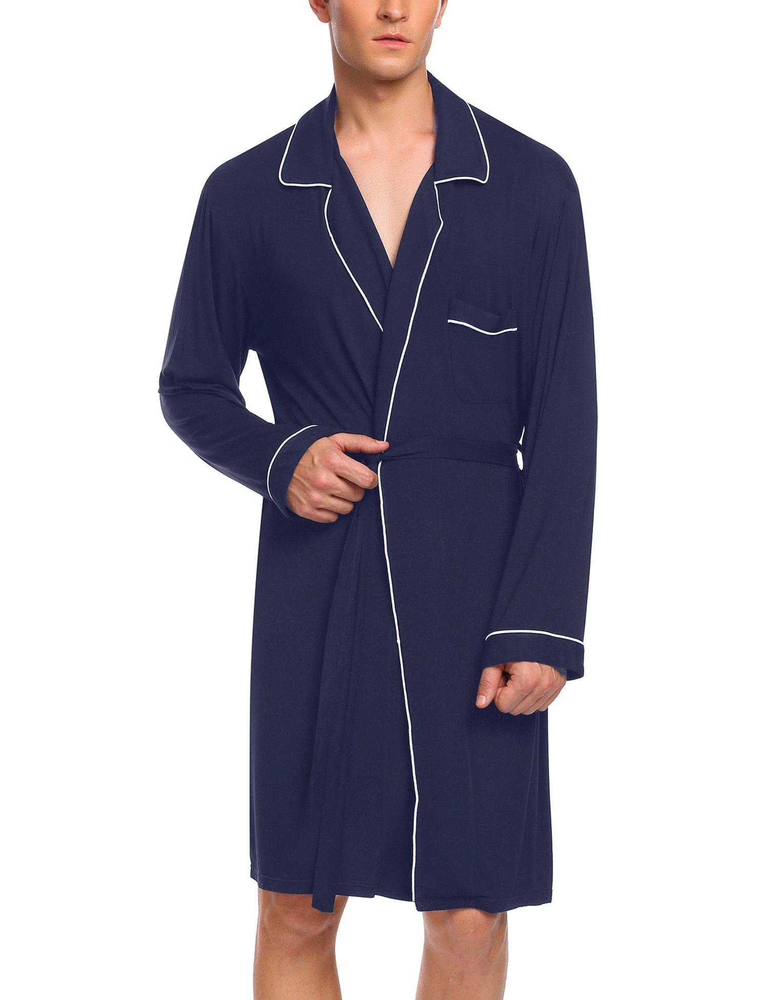 Ekouaer Mens Robes Long Sleeve Cotton Nightware, 7987-navy Blue, Large