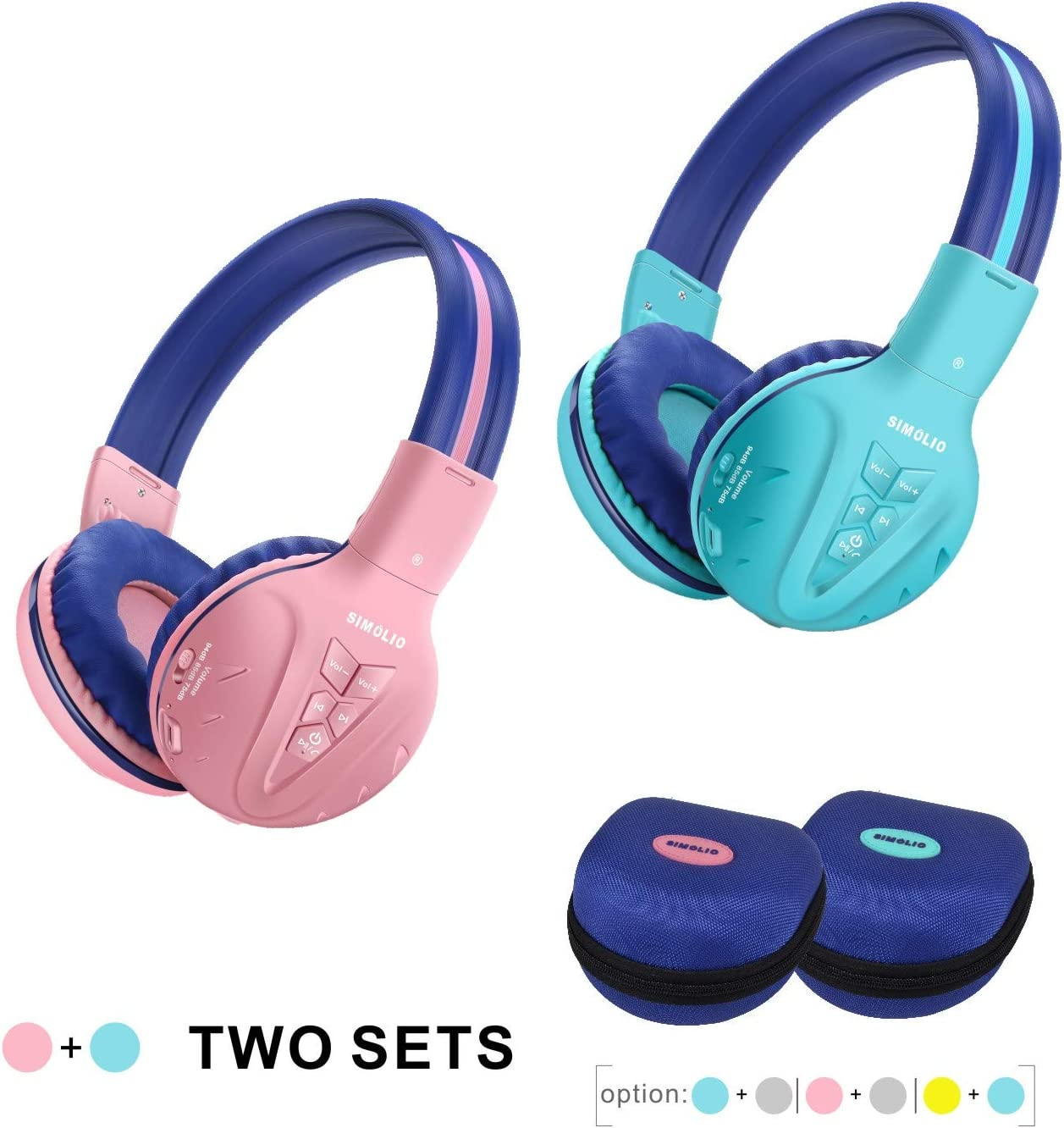 Amazon Com 2 Pack Of Simolio Wireless Bluetooth Kids Headphone With Hard Case Wireless Kids Safe Headphone Volume Limited Wireless Headphones For Girls Boys Over Ear Kids Headphone For School Travel Mint Pink Electronics