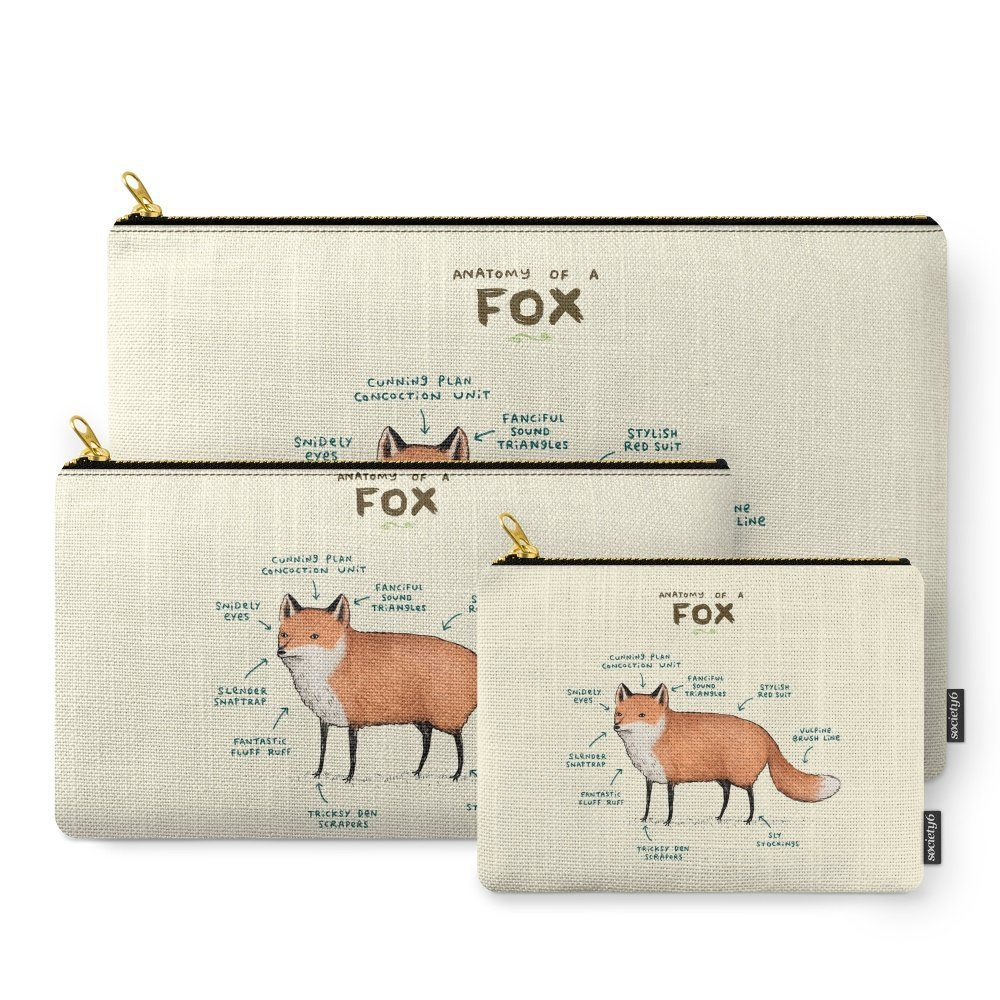 Amazon.com: Society6 Anatomy Of A Fox Carry-All Pouch: Sophie ...