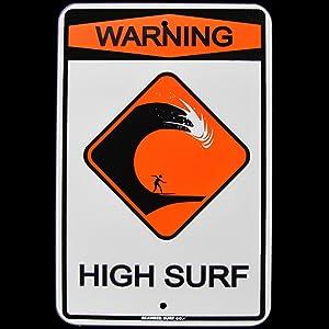 TG,LLC Treasure Gurus Warning High Surf Surfer Surfboard Ocean Beach Tin Sign