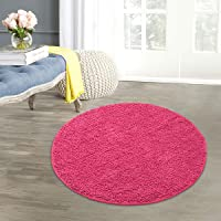 Saral Home Pure Cotton Shaggy Round Shaped Bath Mats
