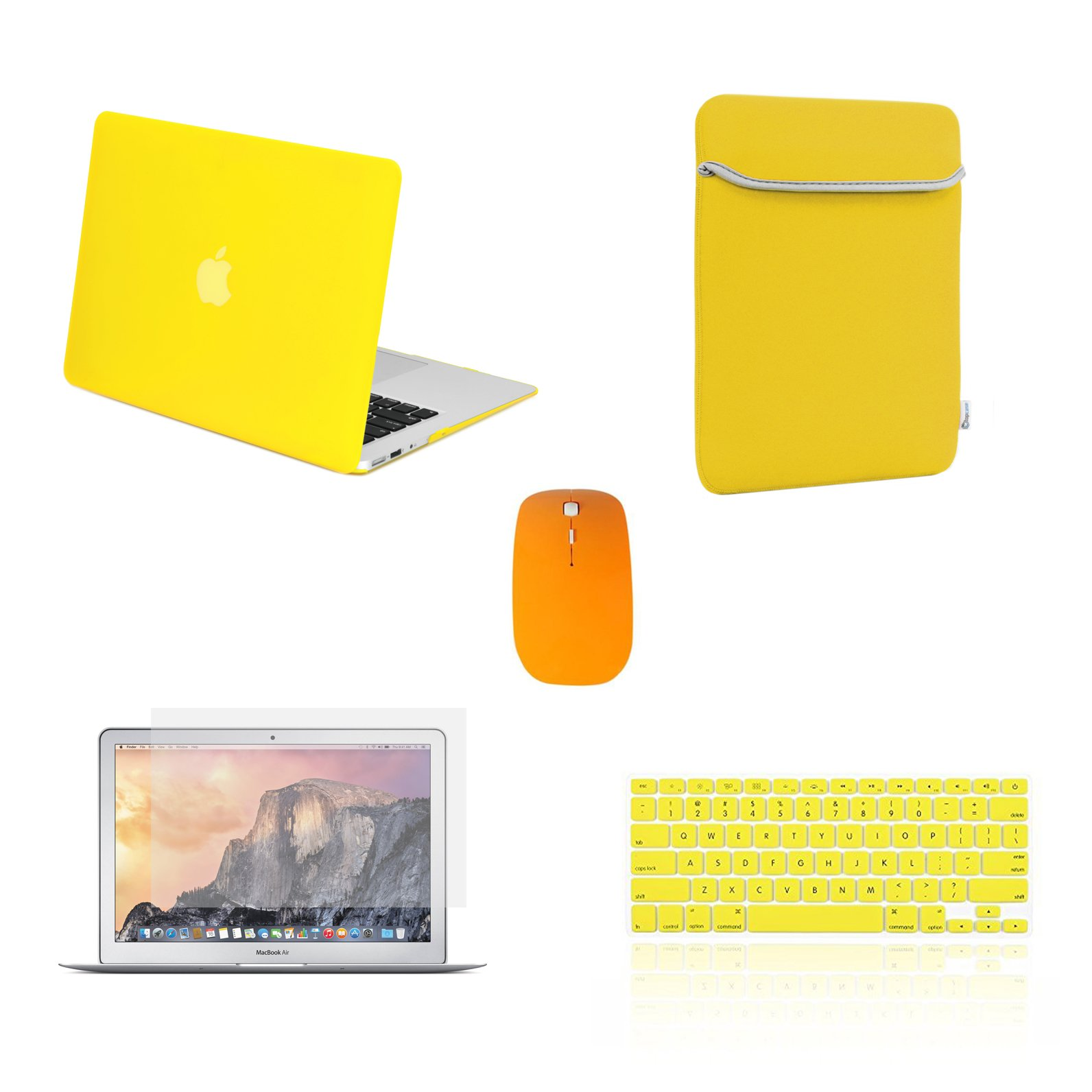 TOP CASE - 5 in 1 Rubberized Hard Case, Keyboard Cover, Screen Protector, Sleeve, Mouse Compatible with MacBook Air 13'' A1369 & A1466 - Not Compatible 2018 Version A1932 Retina Display - Yellow