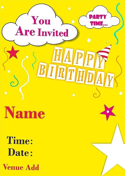 Ezellohub Best Fancy Designer Happy Birthday Yellow Stars