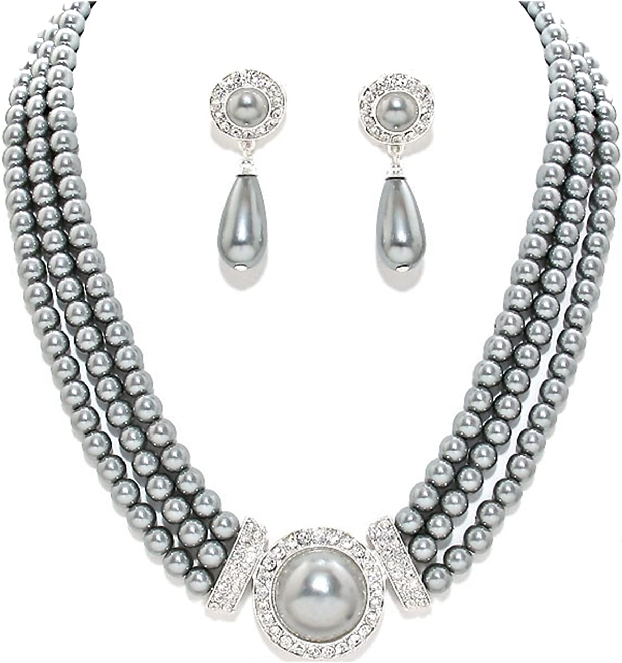 Schmuckanthony Parure collier et boucles doreilles /él/égante en perles grises et cristaux transparents id/éale pour mariage