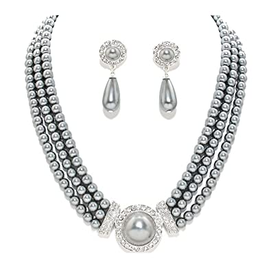 Schmuckanthony Elegant Wedding / Bridal Jewellery Set, Necklace with Bracelet, Earrings, Pearls, White Crystal, Clear