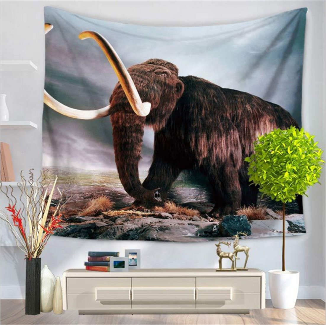 Tapestry /Mammoth/ animal elephant series / wall-mounted beach carpet / indoor and outdoor products / polyester fiber By MM-Maker ( Color : B , Size : 150200cm )