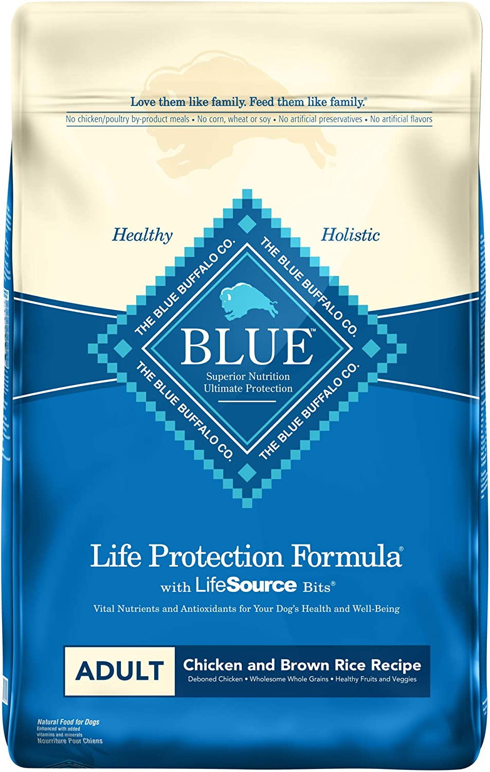 4. Blue Buffalo Life Protection Formula Adult Chicken & Brown Rice Recipe Dry Dog Food