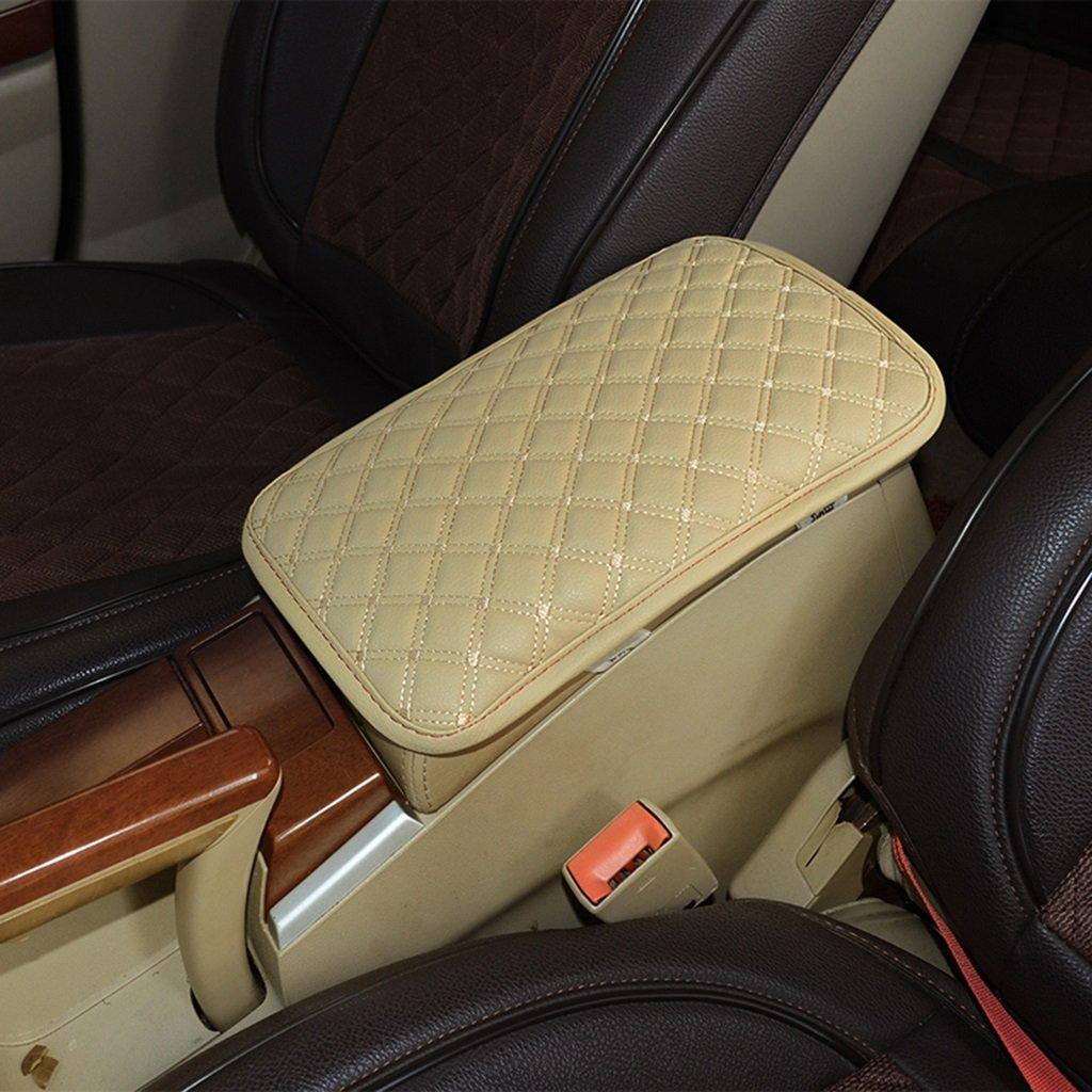 Home mall- Coffre d'accoudoir de voiture Pu Box, gants de voiture / coussin d'accoudoir central, à l'intérieur des accessoires de voiture, taille: 29 * 19CM ( Couleur : Beige )
