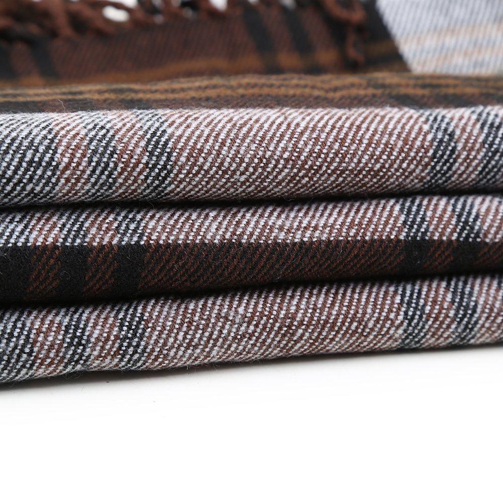Women Plaid Hooded Poncho Bobo Shawl Fringe Tartan Wrap Tasseled Batwing Cape by Landove (Image #6)