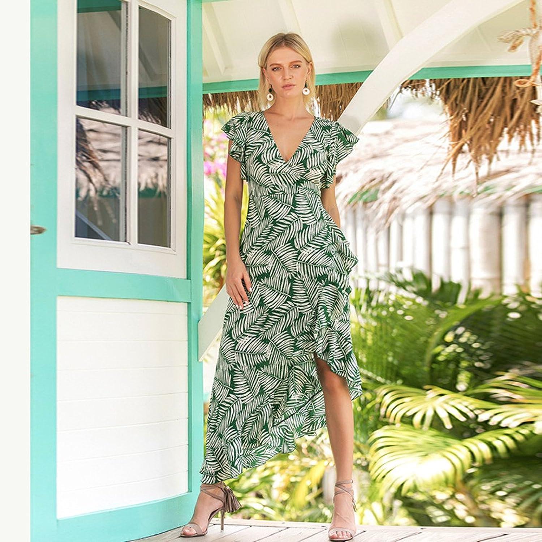 Dotbuy Vintage Kleider Frauen, Grüne Blätter Cocktailkleider Alltag ...