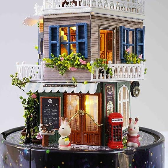 Amazon Com Cutebee Dollhouse Miniature With Furniture Rotating Diy