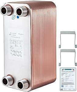 "BestEquip Heat Exchanger 316L 5 x 12 Inch 60 Plates Brazed Plate Heat Exchanger 1""MPT Heat Exchanger ZL95A-42 for Heating"