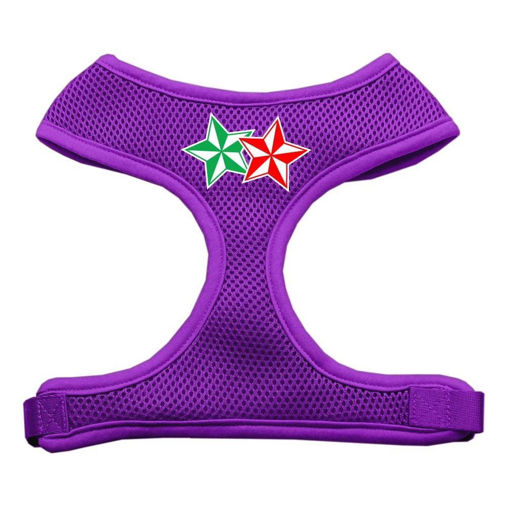 Mirage Pet Products Double Holiday Star Screen Print Mesh Dog Harnesses, Medium, Purple