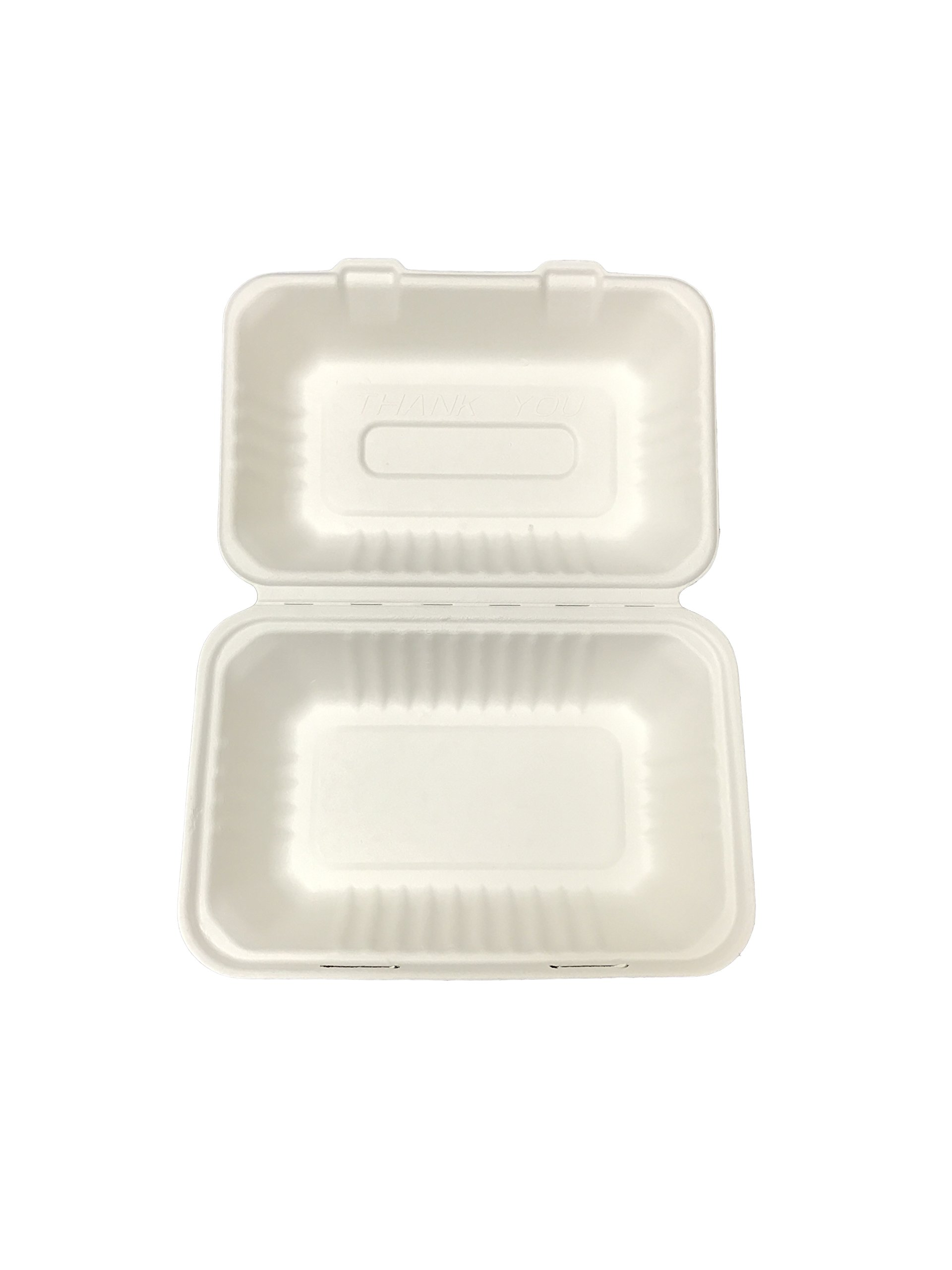 Primeware Bagasse Hinged Lid Container - Hoagie 9 x 6'' - 250/Cs (2 x 125), Not Applicable