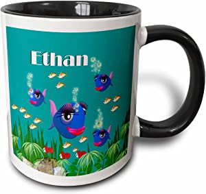 """3dRose mug_51165_4""""This vibrant artwork of Fish under the sea is personalized with the name Ethan"""" Two Tone Black Mug, 11 oz, Multicolor"""
