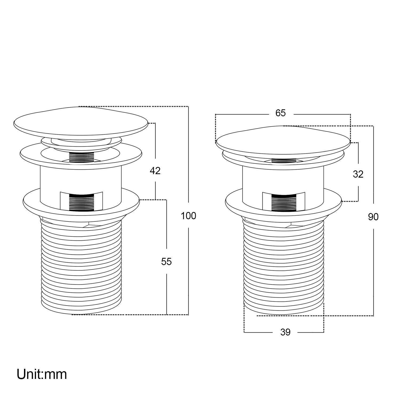 Funime de salle de bain /évier Bonde de vidage Chrom/é moderne Click Clack /à ressorts Plug d/échets pour lavabo /à fente avec trop-plein
