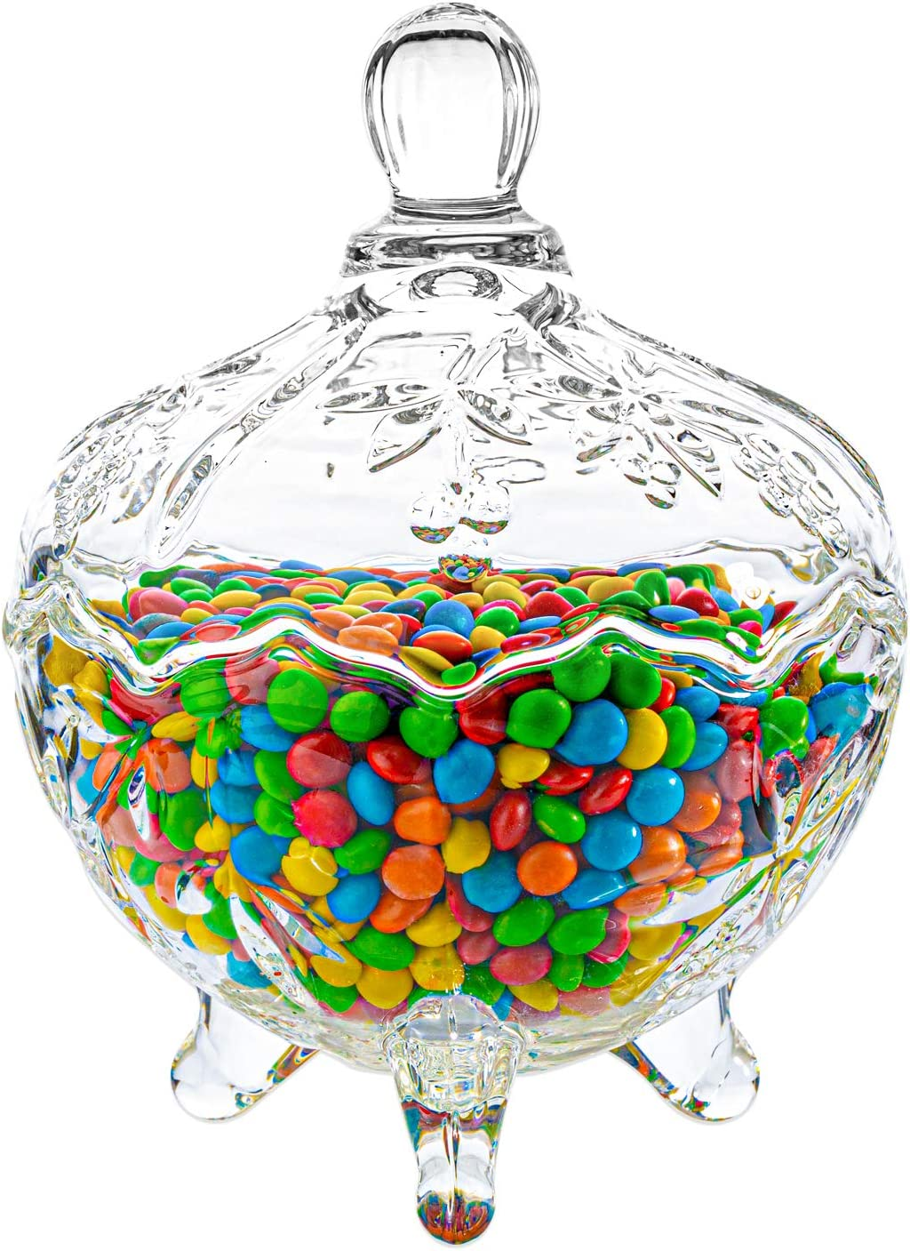 ComSaf Glass Footed Candy Dish with Lid, Clear Covered Candy Bowl, Crystal Candy Jar with legs for Home Office Desk Christmas Gift, Set of 1