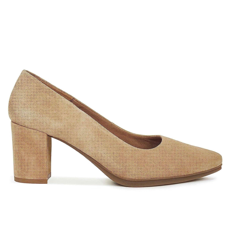 Urban S - Zapatos Mujer tacón Ancho Beige