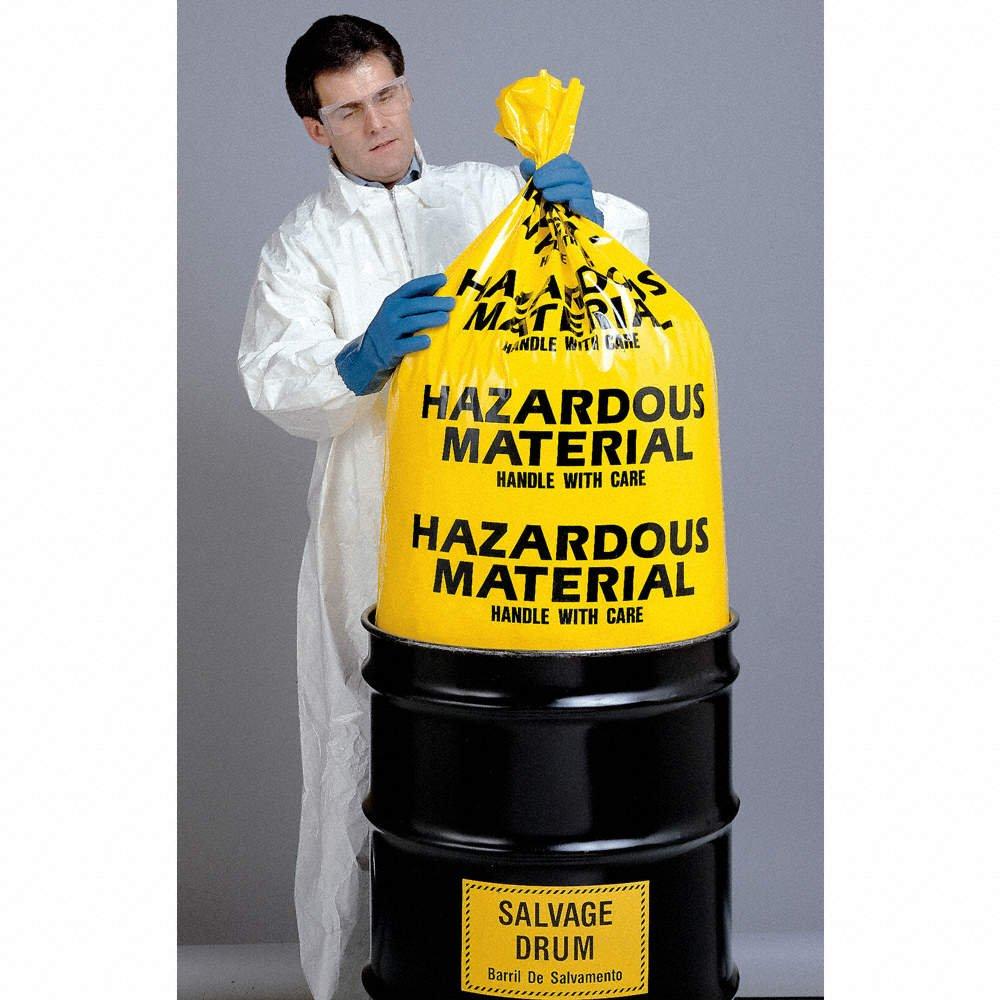 Grainger Approved Hazardous Waste Bags 55 Gal. Yellow Pk24 3WNA6