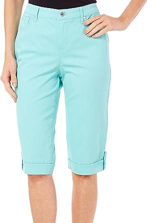deb69d1d271 Gloria Vanderbilt Womens Jordyn Embellished Skimmer Capri Jeans, Aruba Aqua  (6)