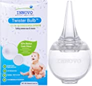 Innovo Hospital Grade Silicone Twister Bulb Baby Ear Syringe and Nasal Aspirator, Snot Sucker and Mucus Sucker, Non-Toxic Na