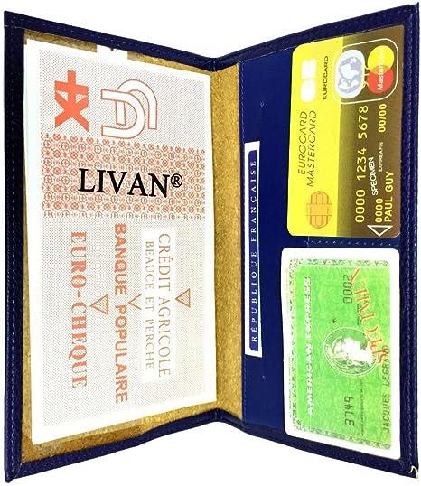 L0945 LIVAN/® Etui ch/équier Porte ch/équier Talon en Haut//pi/èce didentit/é Carte cr/édit en Cuir Orange