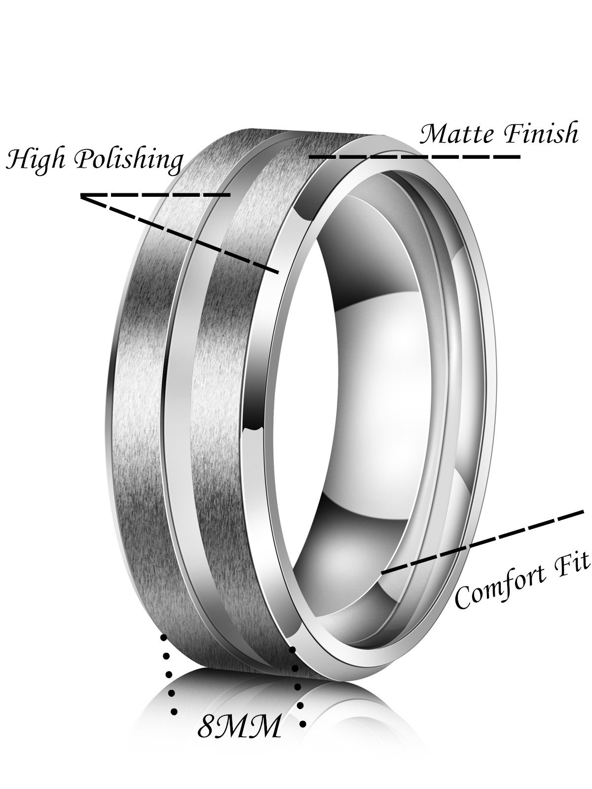 Just Lsy 8mm Titanium Rings for Men Women Beveled Edges High Polished Grooved Center/Matte Finish Wedding Band in Comfort Fit Size 10 Lsy-004 by Just Lsy (Image #3)