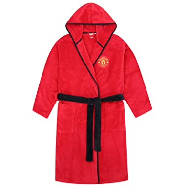 Manchester United FC Official Gift Mens Hooded Fleece Dressing Gown Robe Red   Amazon.co.uk  Clothing a755f3b2d