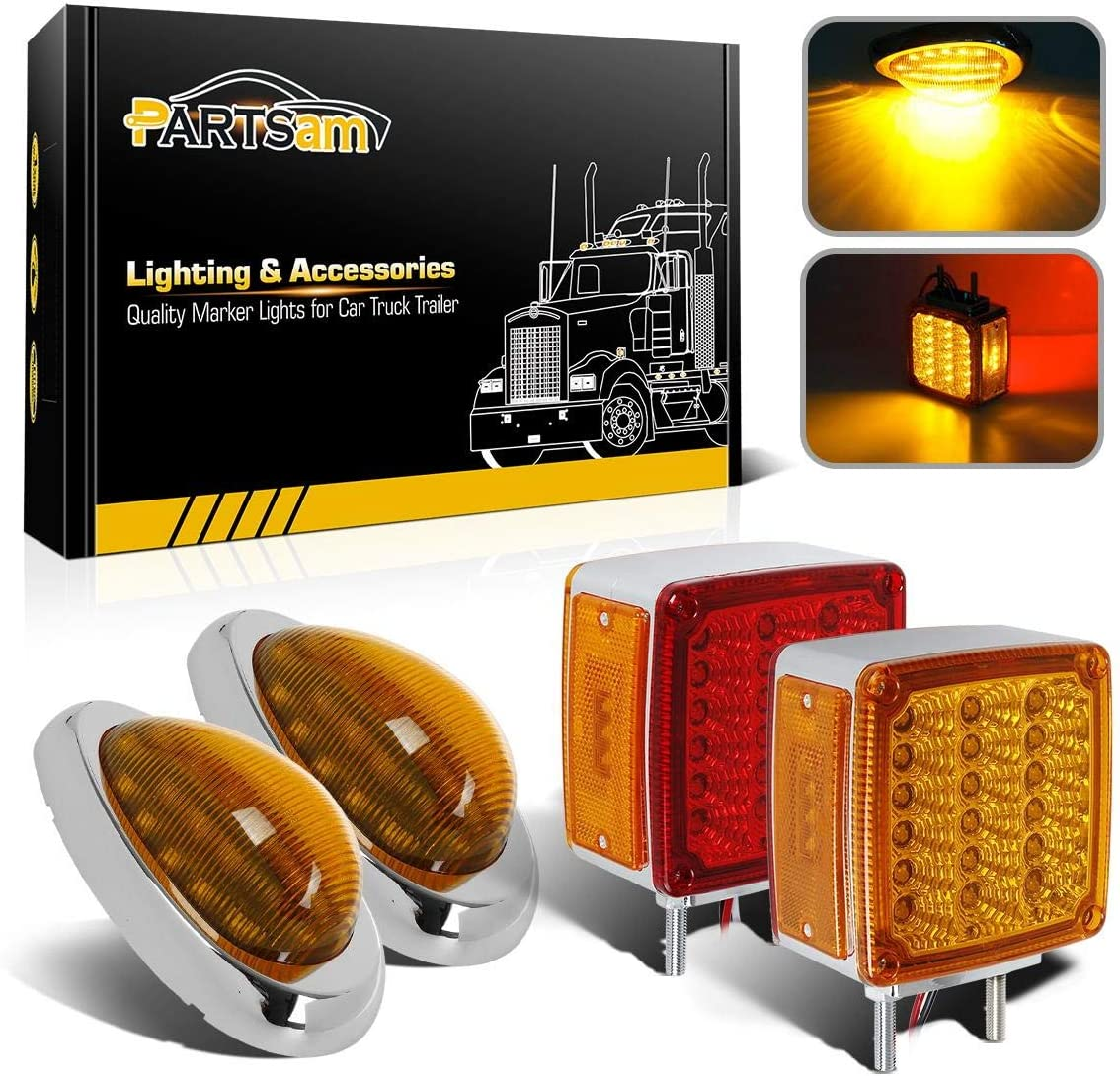 Led Truck Trailer Lights Kit 2Pcs Double Face Square Led Pedestal Fender Light 39 LED 2Pcs 6 Amber Sleeper Cab LED Side Marker//Turn Light 15 LED Replacement for Freightliner Century//Columbia