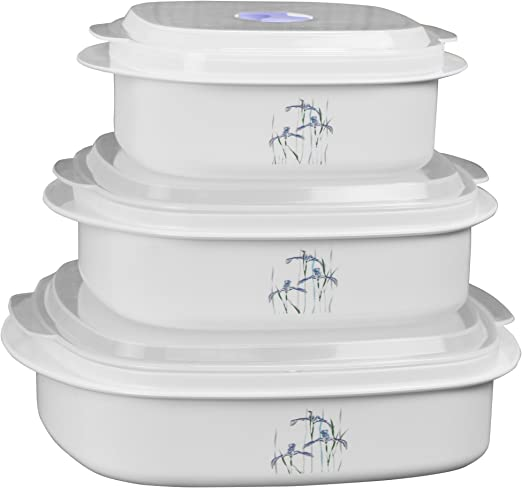 Corelle Coordinates by Reston Lloyd 6-Piece Microwave Cookware, Steamer and Storage Set, Shadow Iris