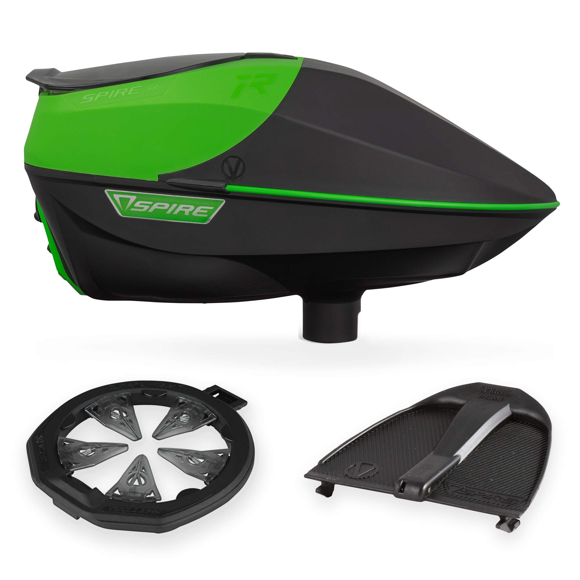 Virtue Spire IR Electronic Paintball Loader, CrownSF II Speedfeed, and Spring Ramp Bundle - Lime by Virtue Paintball