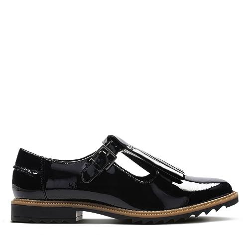 Clarks Women's T-Bar Shoes Griffin MIA Black Patent