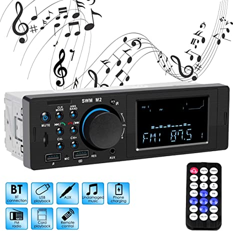 Single Din Universal Car Radio FM//WMA//MP3 Stereo Player with USB Port Wireless Remote Control Included Car Stereo Bluetooth Receiver
