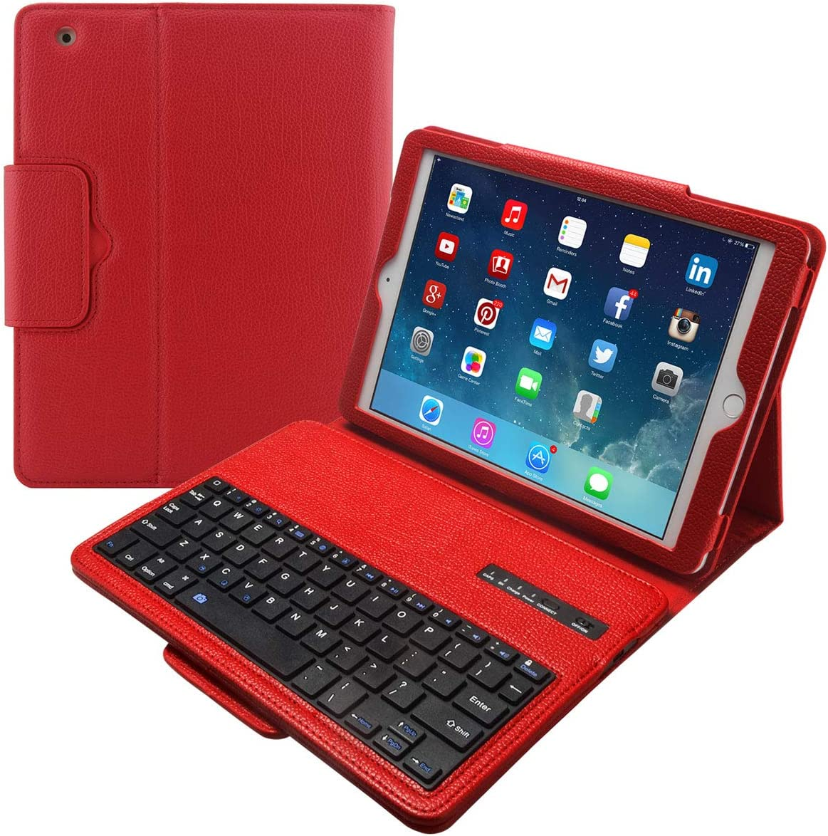 Eoso Keyboard Case for Apple iPad 2/3/4 Folding Leather Folio Cover with Removable Bluetooth Keyboard for iPad 2/3/4 Tablet (Red)