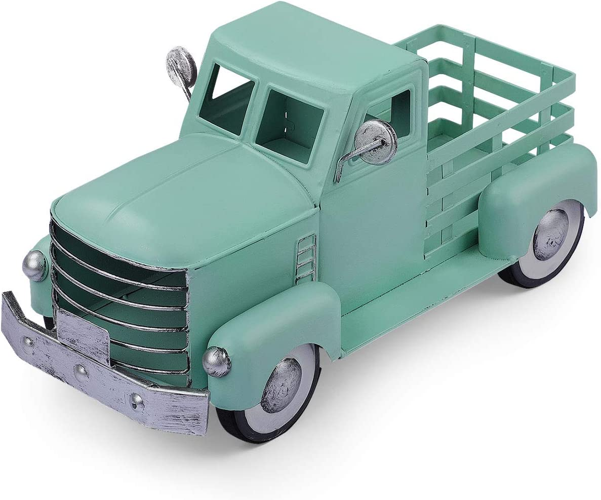 Pylemon Easter Truck Decor, Vintage Metal Truck Planter, Farmhouse Turquoise Pick-up Truck Spring Decorations & Decorative Tabletop Storage (Small Size)