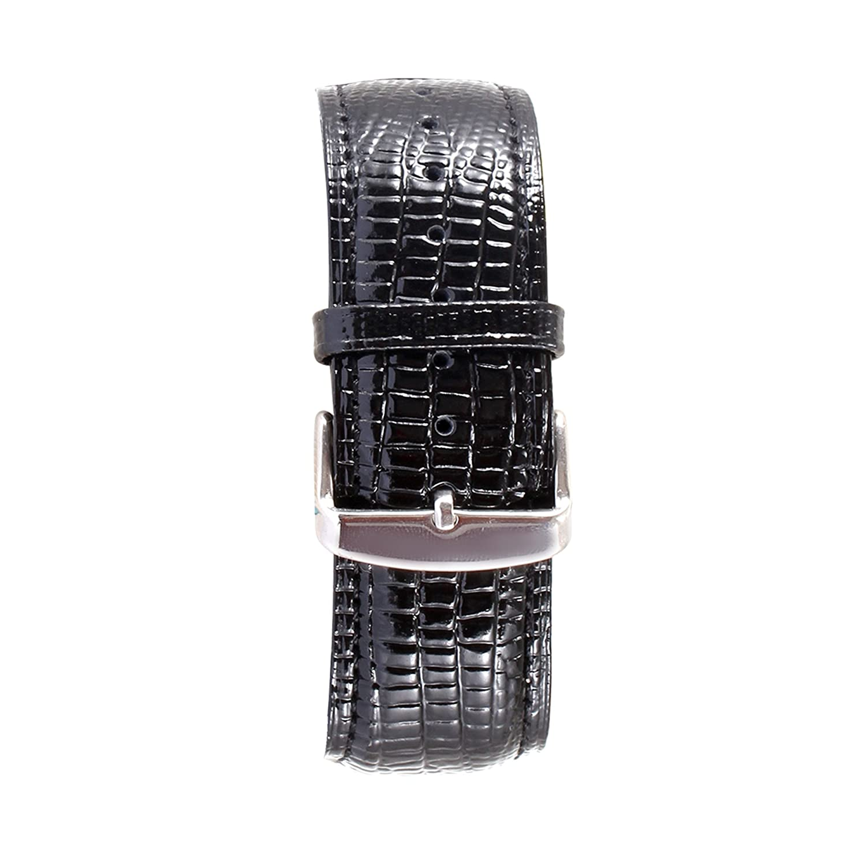 kingloo Apple Watchバンド38 mm or 42 mm , Shiny Alligatorレザーストラップ時計バンドシルバーピンバックル付きApple Watchシリーズ3シリーズ2シリーズ1すべてのバージョン 42mm ブラック  ブラック 42mm B07CP4RGXX