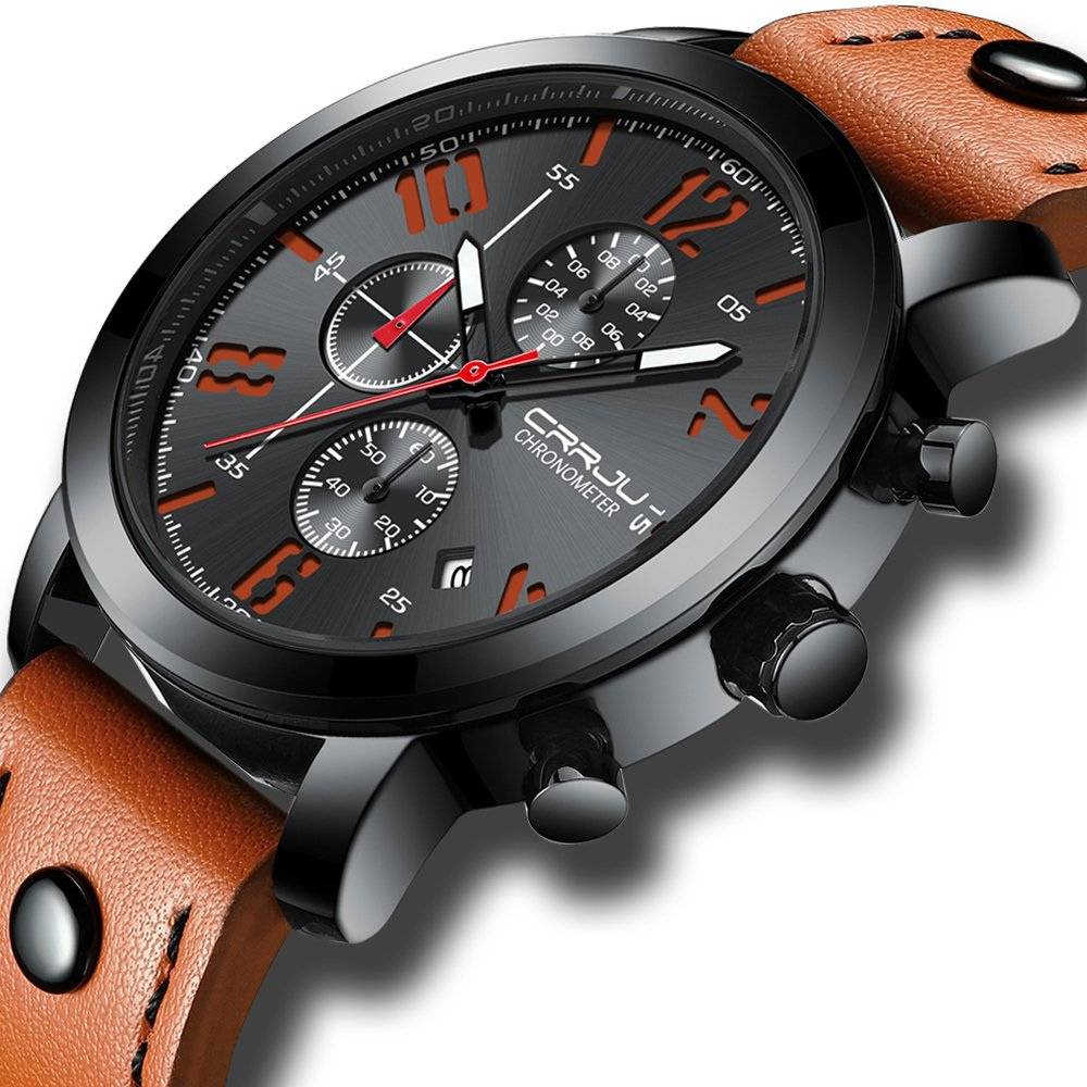Fashion Black Dial Chronograph Watch with Orange Leather Band Wrist Watch