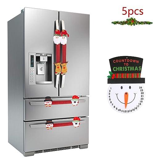 LANMOK Cubierta Manija de Refrigerador Navidad 4pcs Decoración de ...