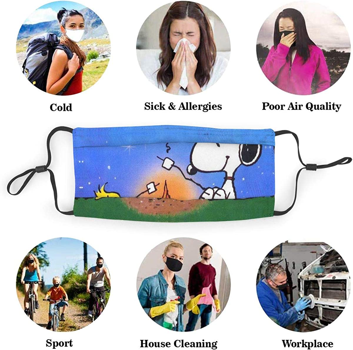 Cafey Unisex Reusable Protection from Dust Snoopy Earloop Face Veil for Men Women Kids Soft and Comfortable