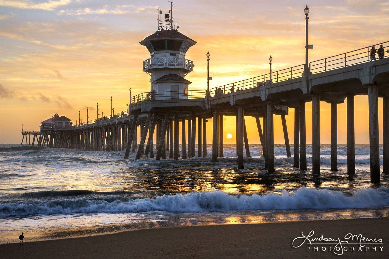 Amazon Com Huntington Beach Print Classic Sunset By Travlin Photography Multiple Sizes 5x7 To 24x36 Handmade