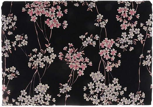 Sitrda - Tela de algodón con Estampado de Flores de Ciruelo, diseño de Kimono japonés, Color Negro, 50 x 140 cm: Amazon.es: Hogar