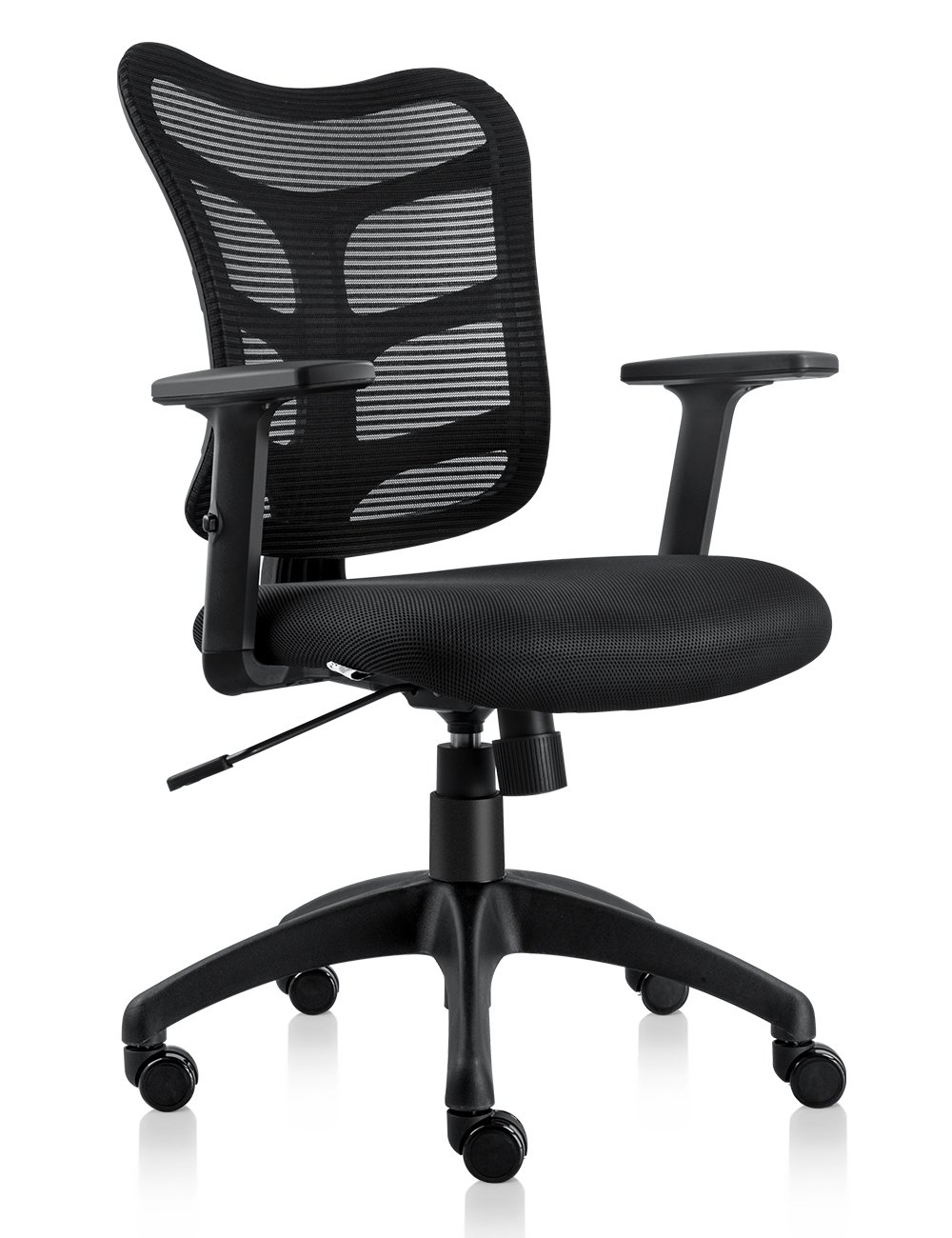 NKV Mid Back Office Chair Ergonomic Task Mesh Chair Adjustable Computer Desk Chair(Black)
