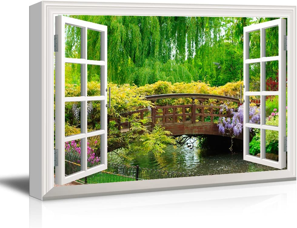 wall26 3D Visual Effect View Through Window Frame Canvas Wall Art - Japanese Style Bridge in a Beautiful Garden - Giclee Print Gallery Wrap Modern Home Art Ready to Hang - 16x24 inches