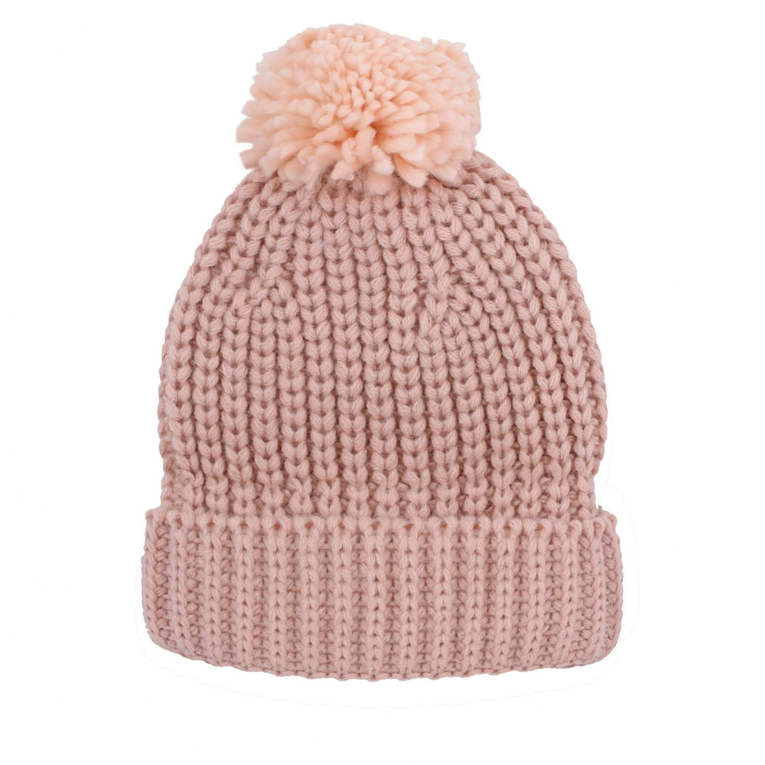Amazon.com  Jiuhong Kids Toddler Pompom Beanie Hat Baby Cable Knit Winter  Hats Candy-Colored Caps for Girls and Boys (Beige)  Clothing 6cfa7f921a1