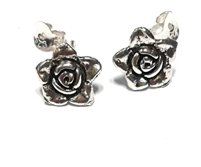 63b022d7f Buy atjewels Oxidised .925 Sterling Silver Rose Stud Earrings For Girl's  and Women's For MOTHER'S DAY SPECIAL OFFER Online at Low Prices in India |  Amazon ...