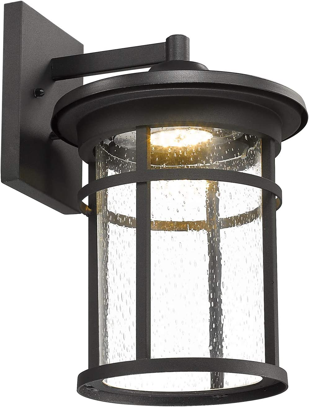 Emliviar Outdoor Wall Lights for House, 14 inch 9W LED Wall Lantern with Seeded Glass in Black Finish, 01A085W-LED BK