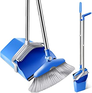 "Mastertop Broom and Dustpan Set Dustpan Cleans Broom - Upgrade Combo Broom Dust Pan with 52.8"" Long Handle, Indoor/Outdoor Heavy Duty Floor Cleaning Sweep Sets, Home Kitchen Room Office Lobby"