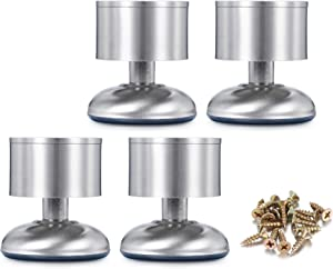 CozyCabin 4PCS Adjustable Metal Furniture Legs - Stainless Steel Cabinet Legs Round for Cabinet Sofa Table Kitchen Feet Replacement,(Height 60mm/2.5